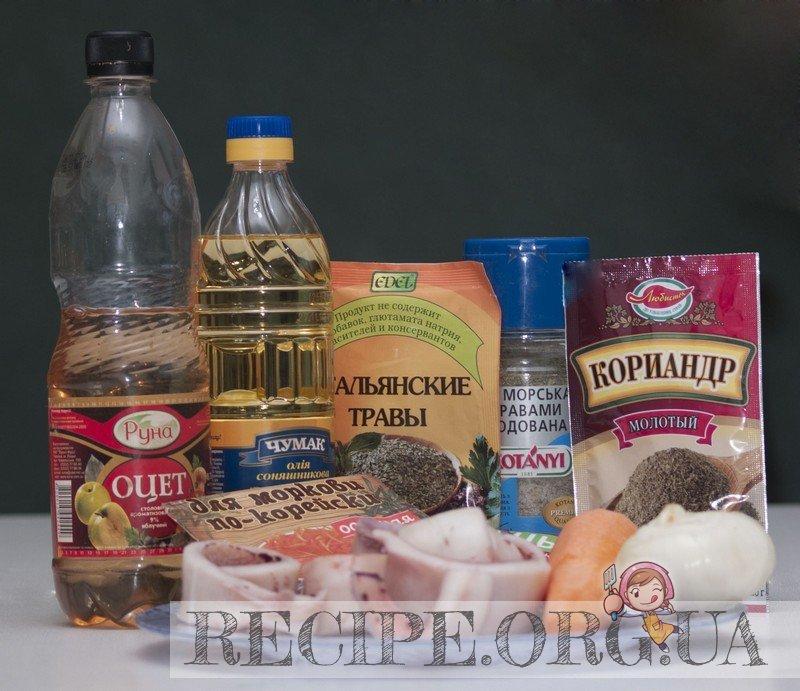Рецепт с фото - Маринованные кальмары: Ингредиенты для маринованных кальмаров